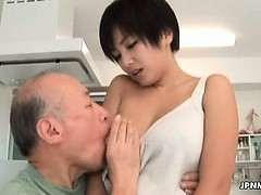 Asian milf gets her tits...